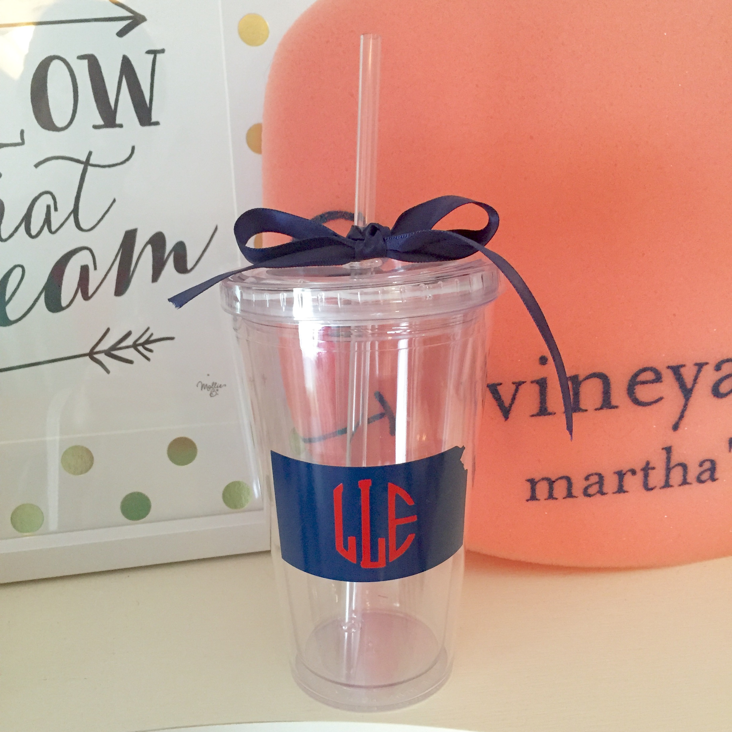 Smitten Monogram monogrammed state tumbler cup / great graduation gift!