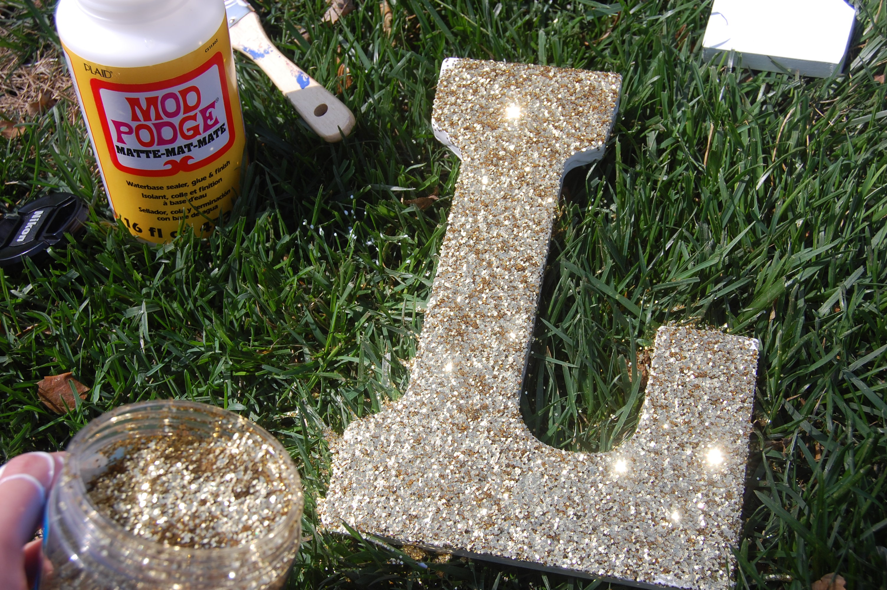 Glitter letters DIY Craft graduation sorority