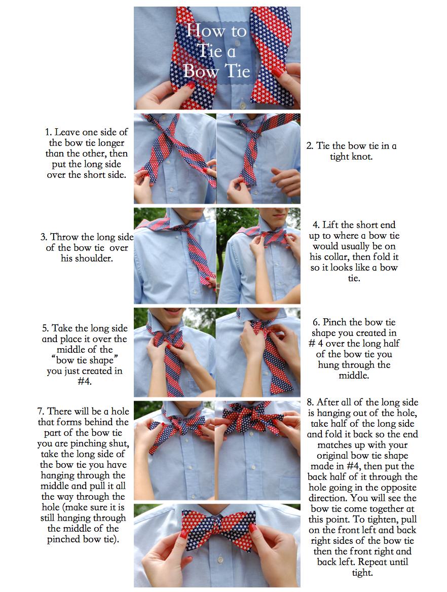 how to tie a bow tie diagram